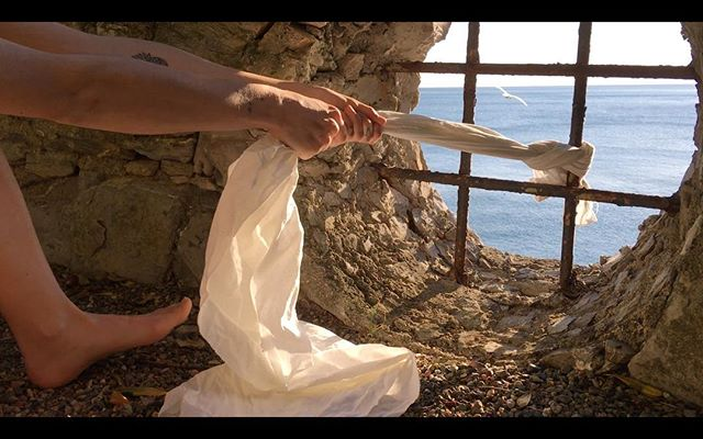 """Film still from Il Gabbiano (The Seagull) for the @globalperformancestudio project """"Libraría"""" . . Directed and Edited by @tompearsonnyc and created in collaboration with @marta.lune and @mawi_dag — created at @bogliascofoundation in Liguria, Italy through a fellowship in Theatre. . . Stay tuned @thirdrailprojectsnyc and @globalperformancestudio"""