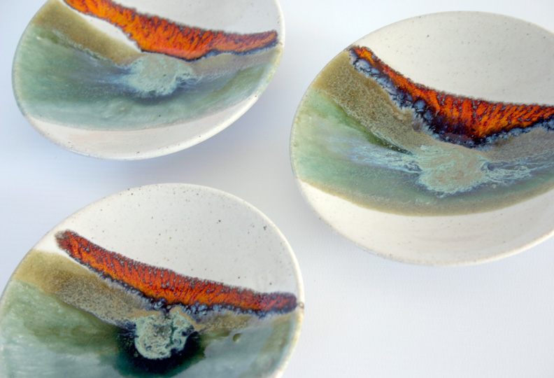Detail of three small bowls