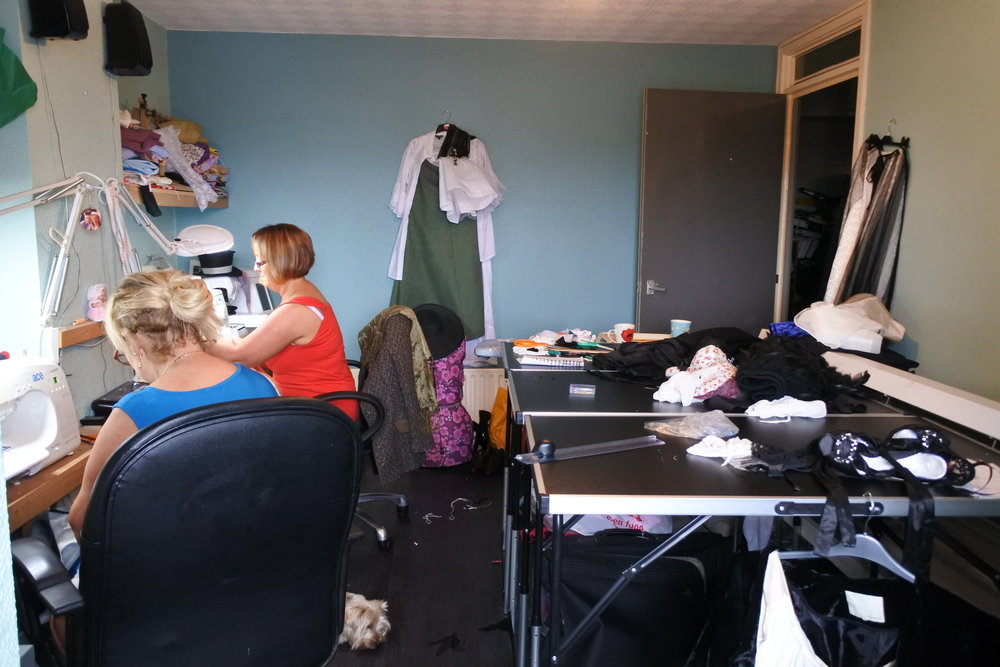 The ladies hard at work creating their costumes.