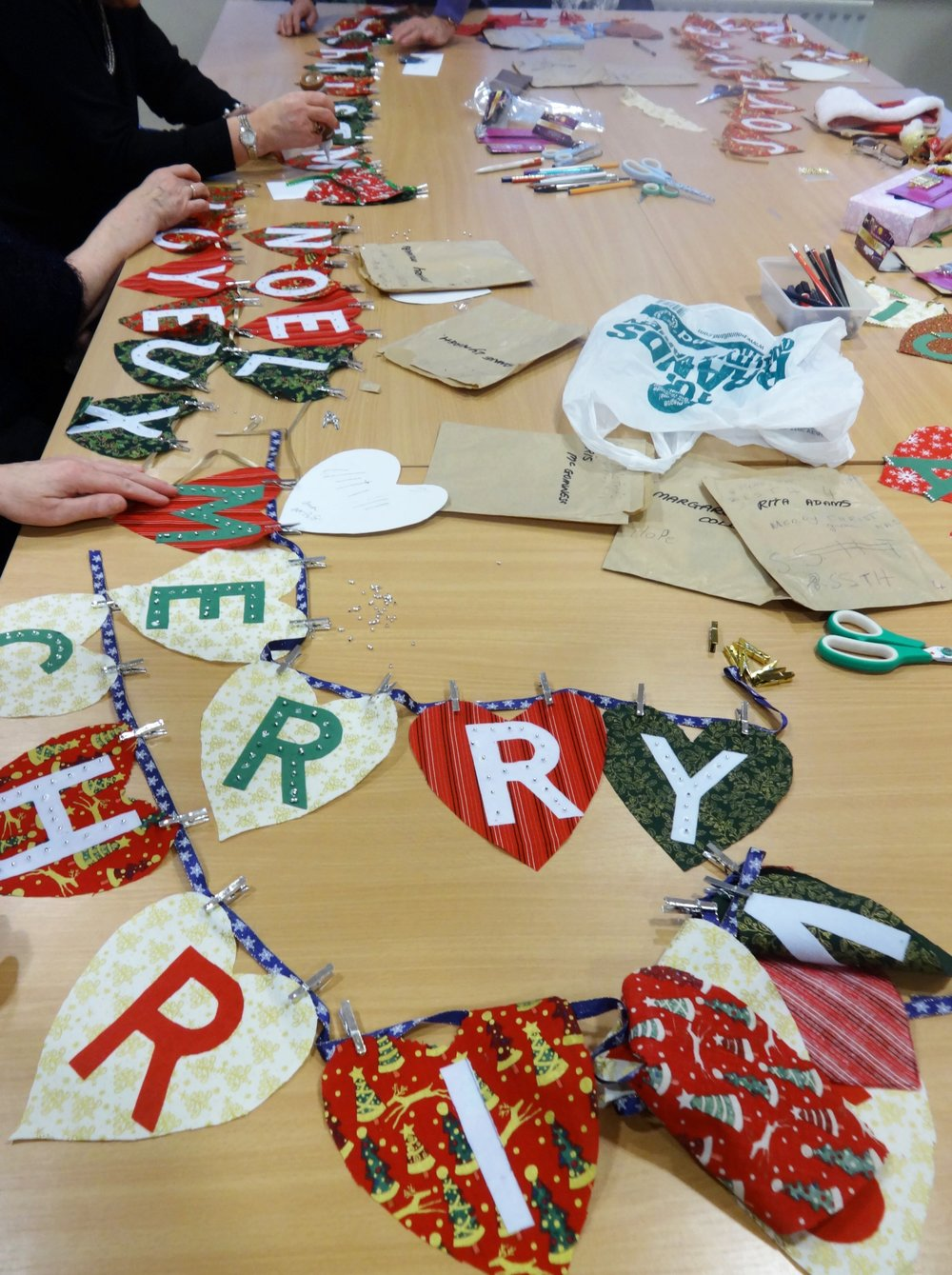 christmas bunting making.JPG