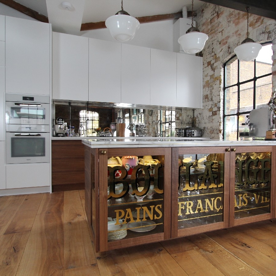 Bespoke white and walnut kitchen, marble worktops with brass inlay, bespoke furniture, vintage/french style