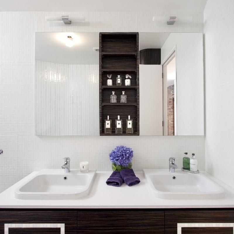 Glamorous Luxury Bathroom. Incandescent White Tiles. Large Bath. Dark Tiles Slate Shower. Macassar Wood Bespoke Furniture.
