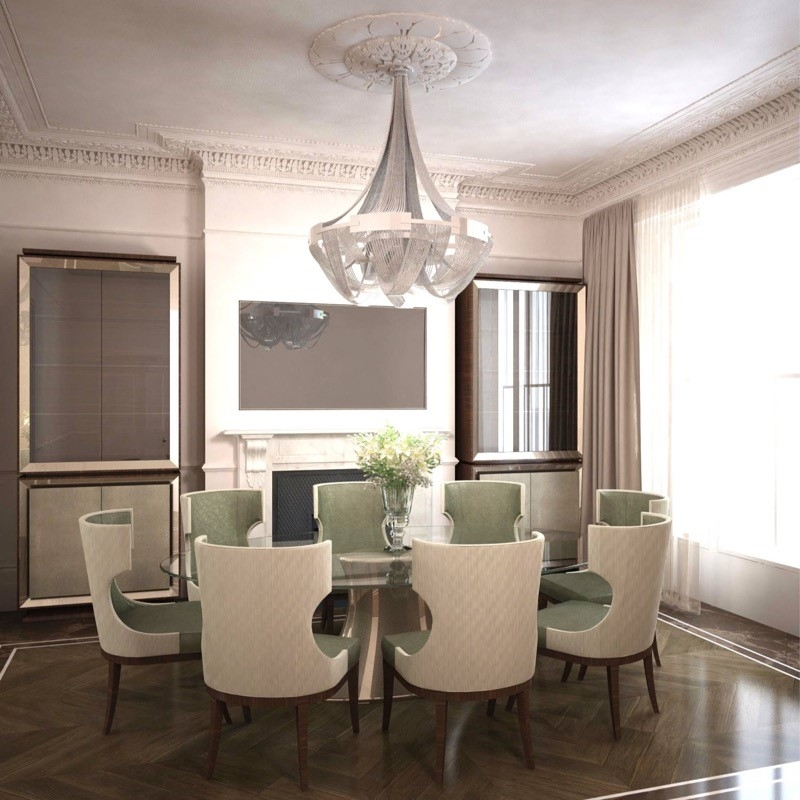 Luxury Interior Design. Large Dinning Table. Wooden Floor. Glass Cabinetry. Deisn chairs.