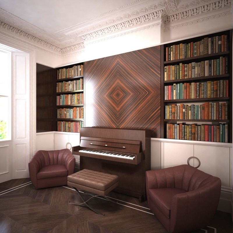 Luxury Interior Design. Bespoke Furniture. Piano.Leather Seats. Bespoke Bookshelf.