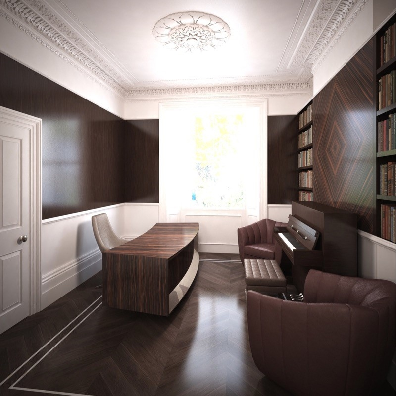 Luxury Interior Design. Bespoke Furniture. Piano. Leather Seats. Macassar Wood Desk. Large Bespoke Bookshelf.