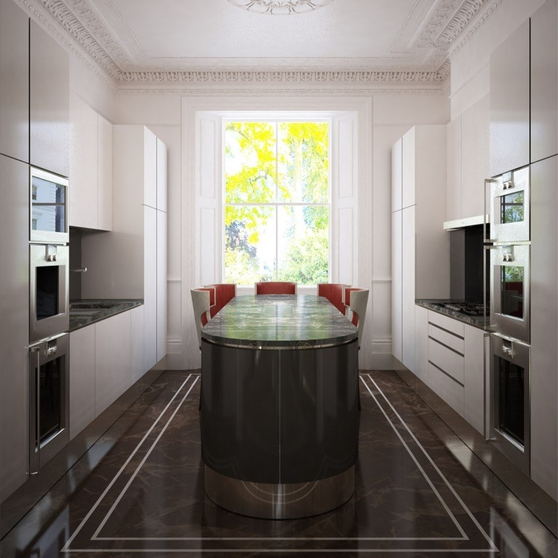 Interior Design Kitchen. Bespoke Furniture. Oval Island. White Lacquer. Marble Floor.