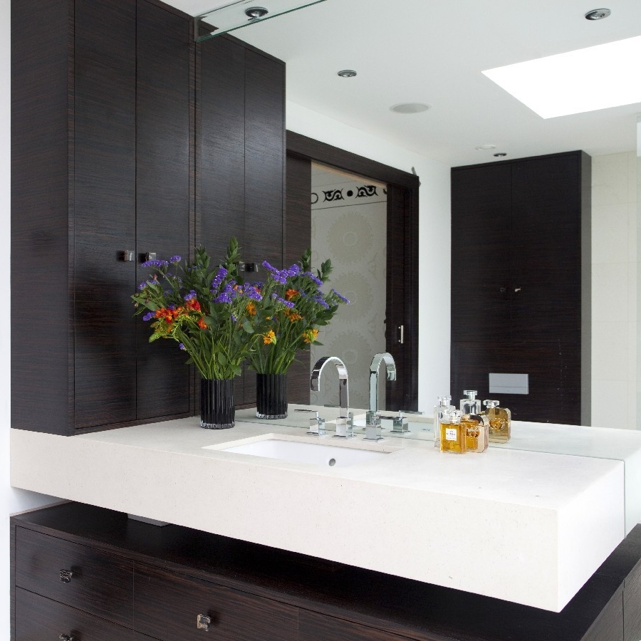 Luxury Interior Design. Elegant Bespoke Bathrooms. Ebony Bespoke Furniture. Large Mirror.