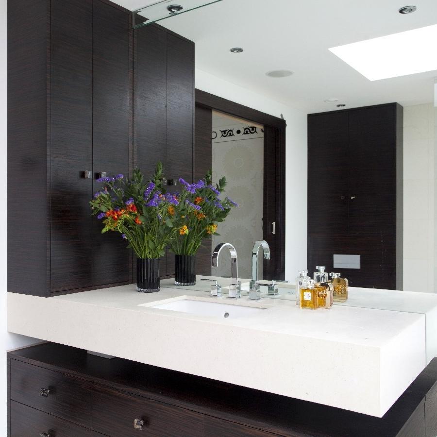 Elegant Bespoke Bathrooms. Ebony Bespoke Furniture. Large Mirror.