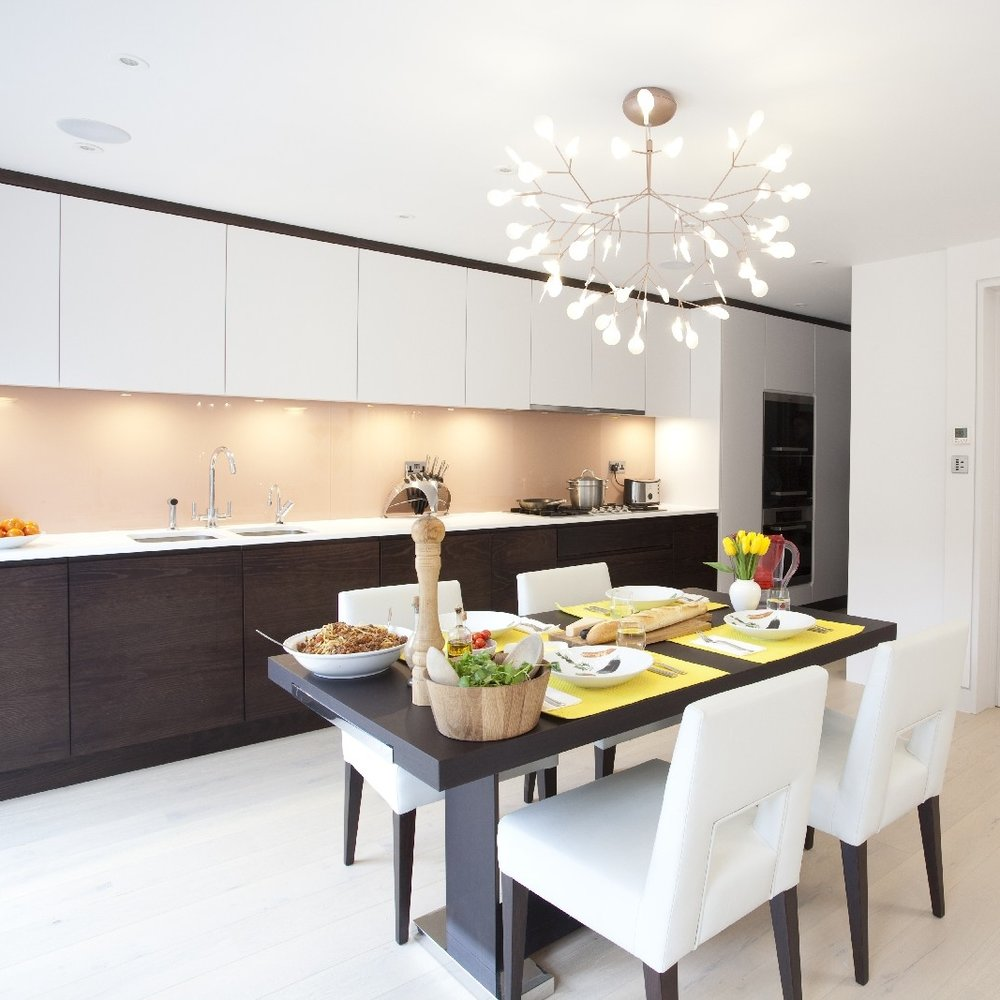 Modern Design Bespoke Kitchen. White Lacquer. Wooden Furniture.