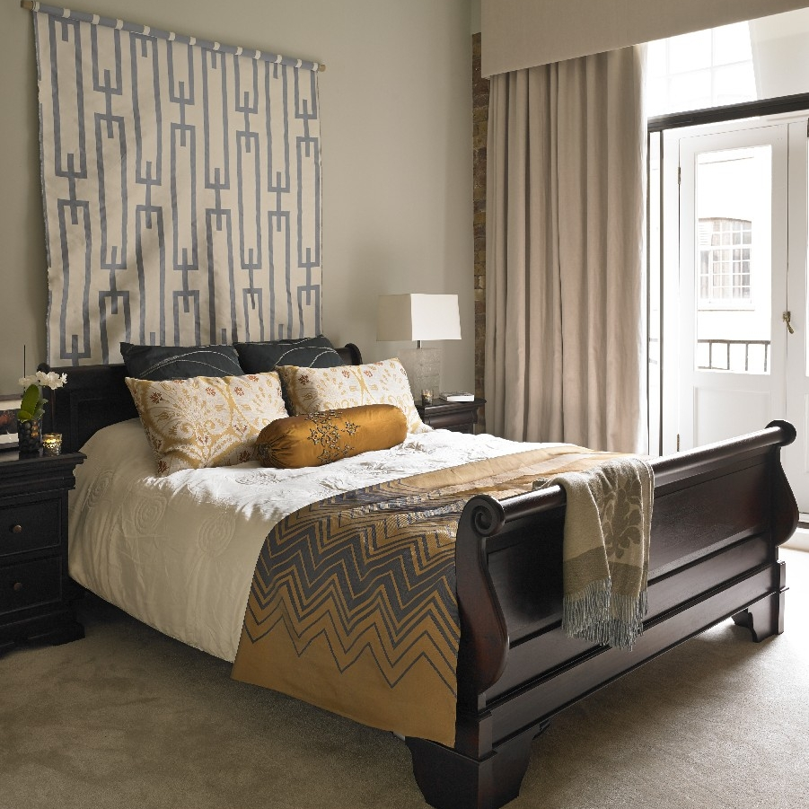 Luxury Interior Design Bedroom. Bespoke Furniture. Master Bedroom. Beige Tone. Beige Carpet.