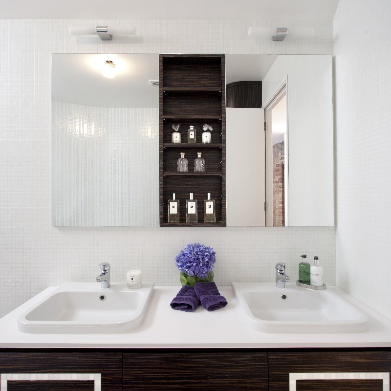 Luxury Glamorous Bathroom. Bespoke Furniture. Double Basin. Macassar Wood Cabinetry. White Tiles.