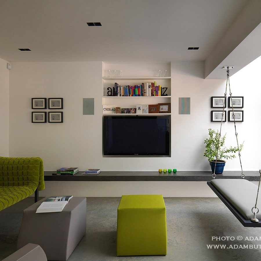 Luxury Interior Design. Bespoke Furniture. Contemporary/Modern Living-room. Concrete Floor. Green and Grey Tone.