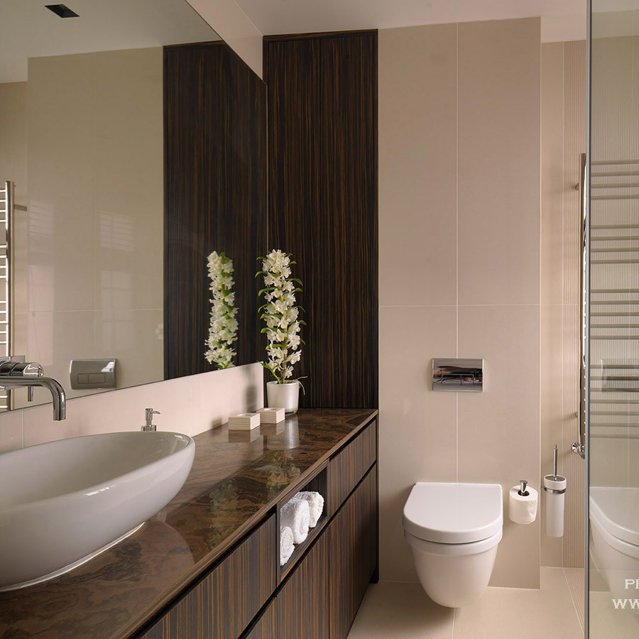 Luxury Interior Design. Bespoke Bathroom. Bespoke Furniture. Macassar Wood Cabinetry. Light Tiles. Luxury Veneer Worktops.