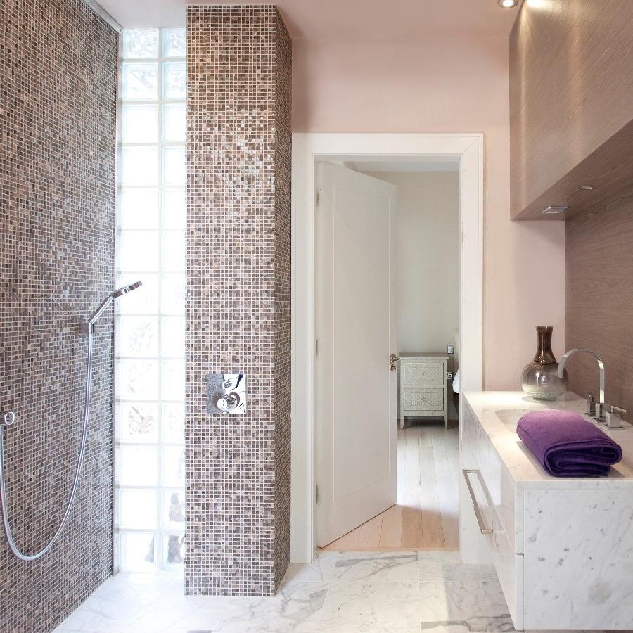 Luxury Bespoke Bathroom. Light and Bright. Bespoke Basin Marble Floor. Mosaic Wall. Light Pink. Italian Shower.