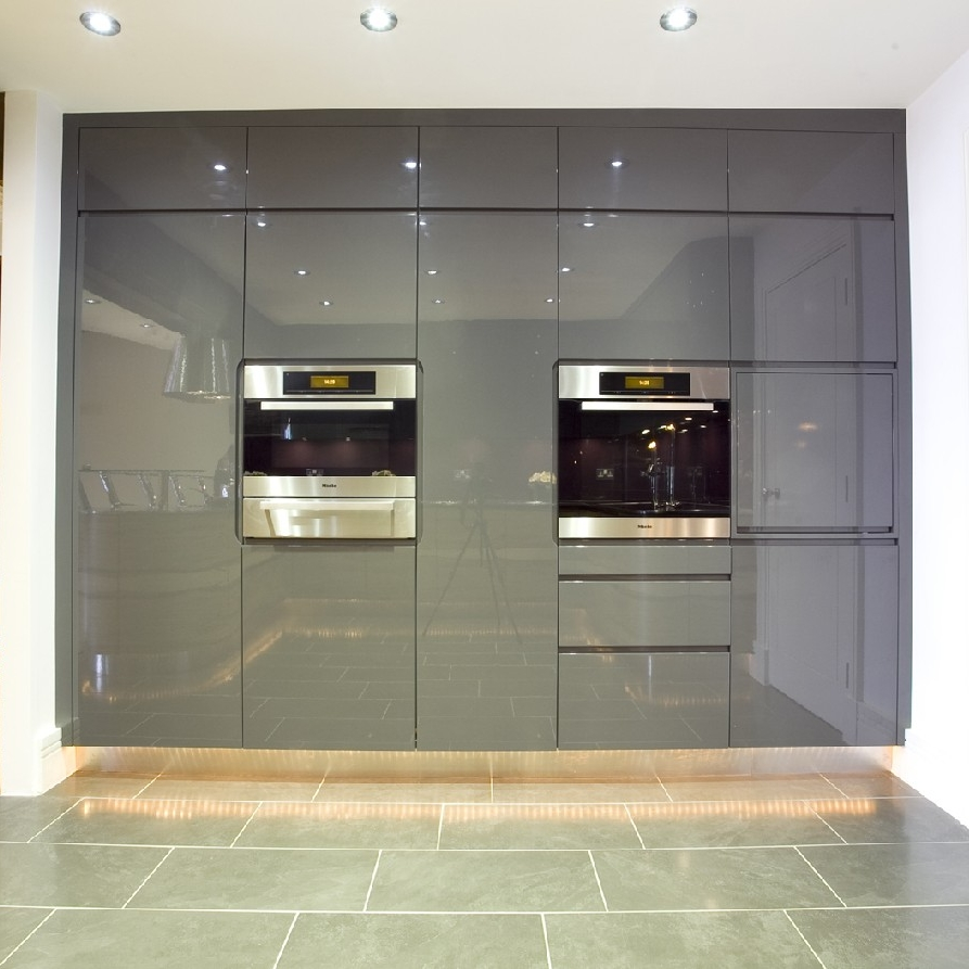 Interior Design Kitchen. Bespoke Furniture. Grey High-Gloss Lacquer Cabinetry. Full Wall Kitchen Furniture.