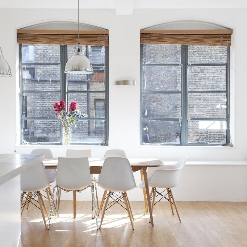Bespoke Modern/Minimalist Kitchen Design.White Lacquer. Grey Concrete Worktops. Open Kitchen. Blue/Turquoise. Wood Floor.