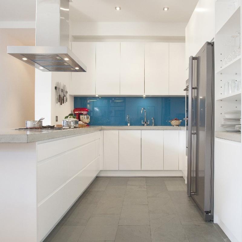 Bespoke Modern/Minimalist Kitchen Design.White Lacquer. Grey Concrete Worktops. Open Kitchen. Blue/Turquoise. Stale Floor.
