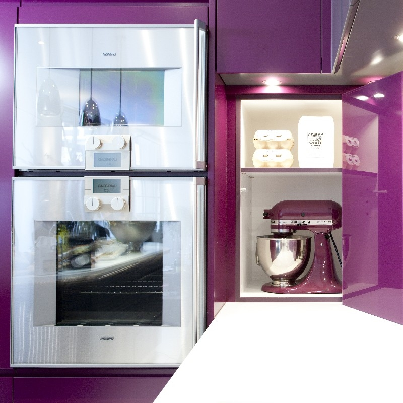 Interior Design Kitchen. Bespoke Furniture. Purple High-Gloss Lacquer.