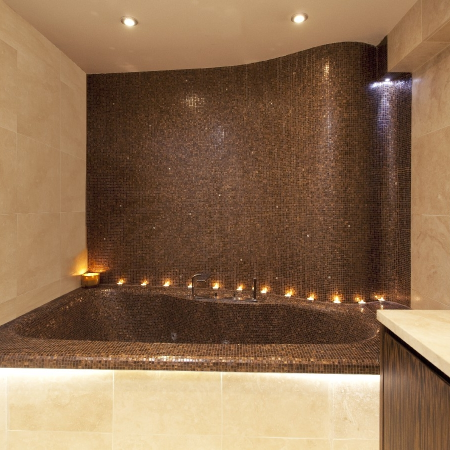 Luxury Bespoke Bathroom. Fitting Jacuzzi. Curved Wall. Embedded Wall with Crystal. Limestone.