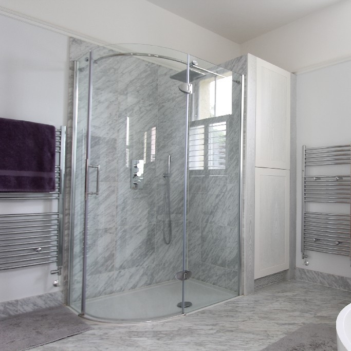 Large Bright Guest Bathroom. Large Bespoke Shower. Marble Shower.