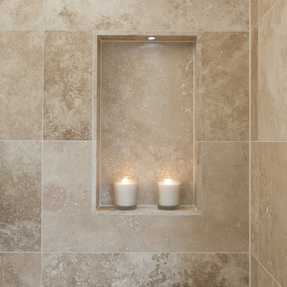 Luxury Bathroom. Shower Limestone Alcove.