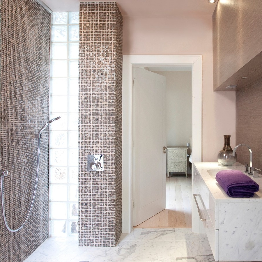 Luxury Bespoke Bathroom. Light and Bright. Bespoke Basin Marble Floor. Mosaic Wall.Light Pink. Italian Shower.