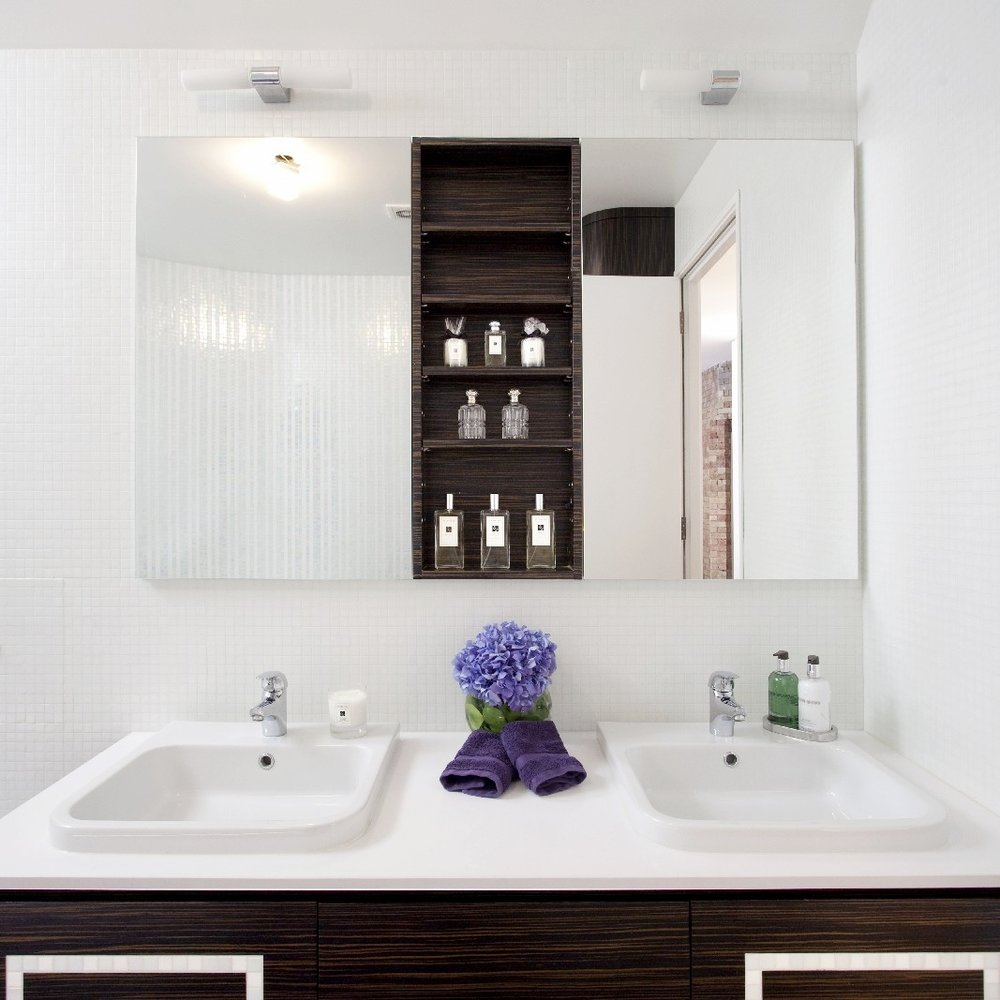 Luxury Glamorous Bathroom. Bespoke Furniture. Double Basin. Macassar Wood Cabinetry. White Tiles. Light and Bright Bathroom.