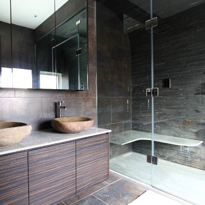 Luxurious Natural Bespoke Bathroom. Bespoke Double Basin. Macassar Furniture. Stone Basin. Italian Shower. Marble Shower Tray. Steam Room Shower.