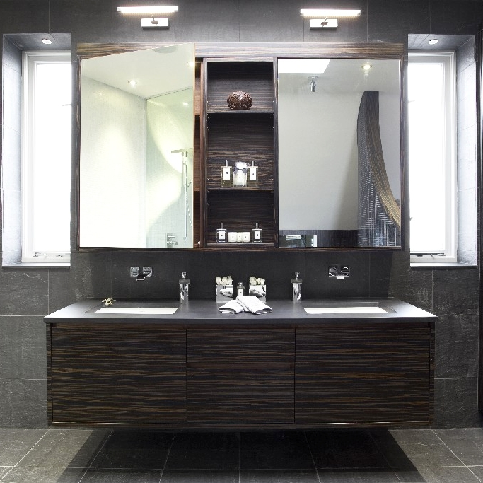 Luxury Bathroom. Bespoke Double Basin. Macassar Wood. Bespoke Furniture. Floating Basin.