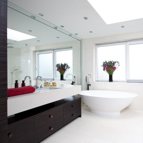luxury bespoke bathroom light and bright bespoke basin marble floor mosaic wall