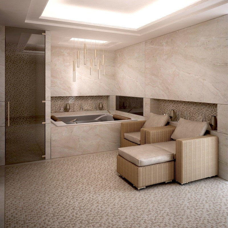 Luxury Interior Design Bathroom. Wellness area. Sauna. Jacuzzi. Spa room. Marble Wall. Bespoke Bathroom.