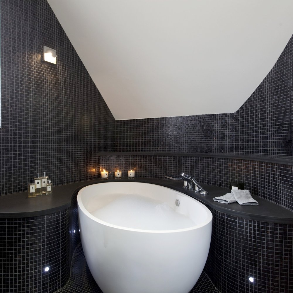 Luxury Bathroom. Large Bespoke Shower. Steam Room. Glass Shower. Slate Floor.