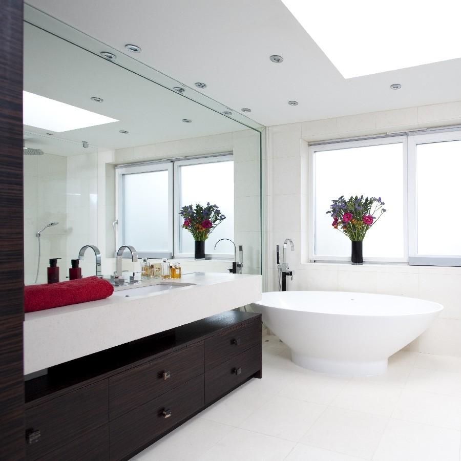 Luxury Interior Design. Bespoke Bathroom. Bespoke Furniture. Macassar Wood Cabinetry. Light Tiles. Luxury Veneer Worktops.