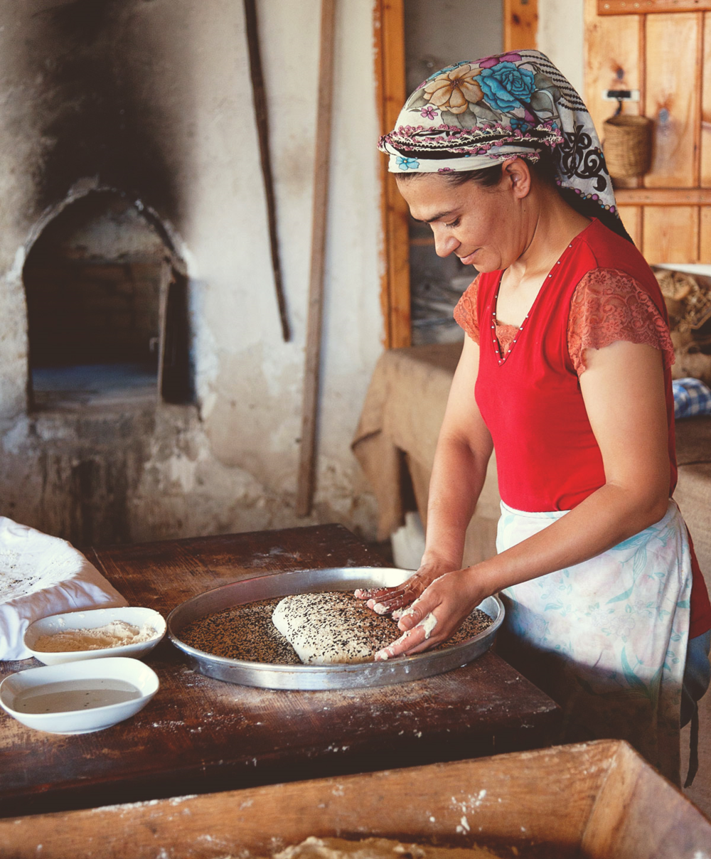 Making of the traditional bread.