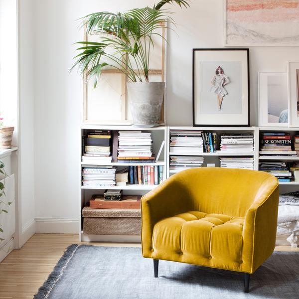 Mustard yellow velvet armchair , £975,Att Pynta