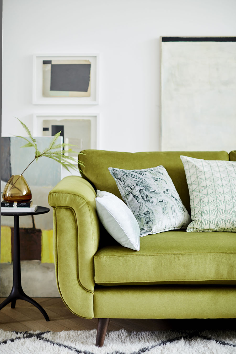 Lime Green velvet sofa , from £1598, DFS