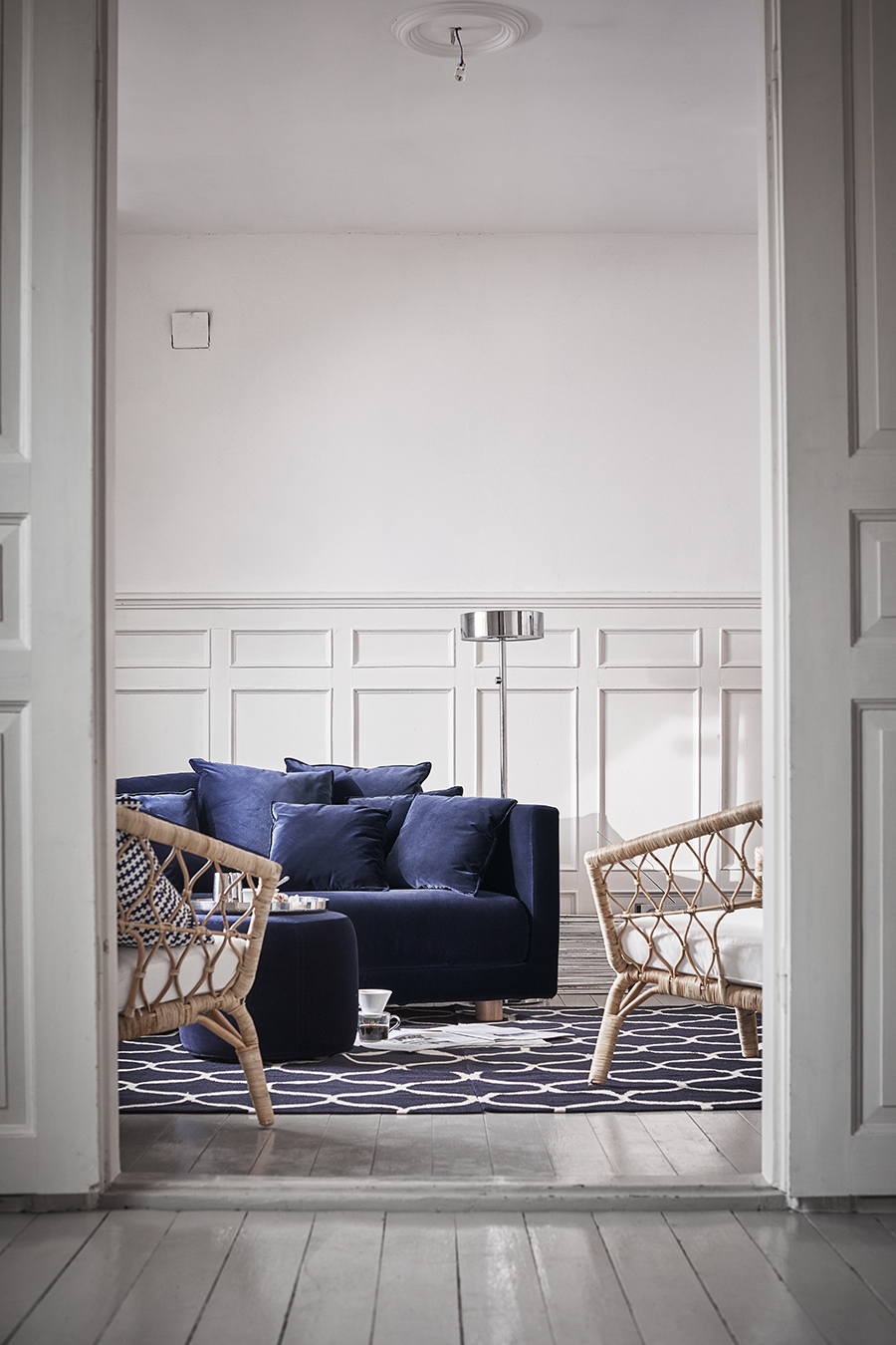Dark blue velvet sofa , £1095, IKEA