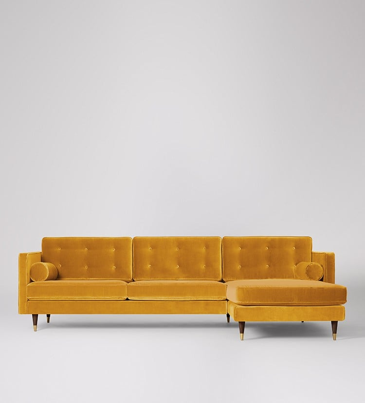 Mustard yellow velvet corner sofa , £1699, Swoon Editions