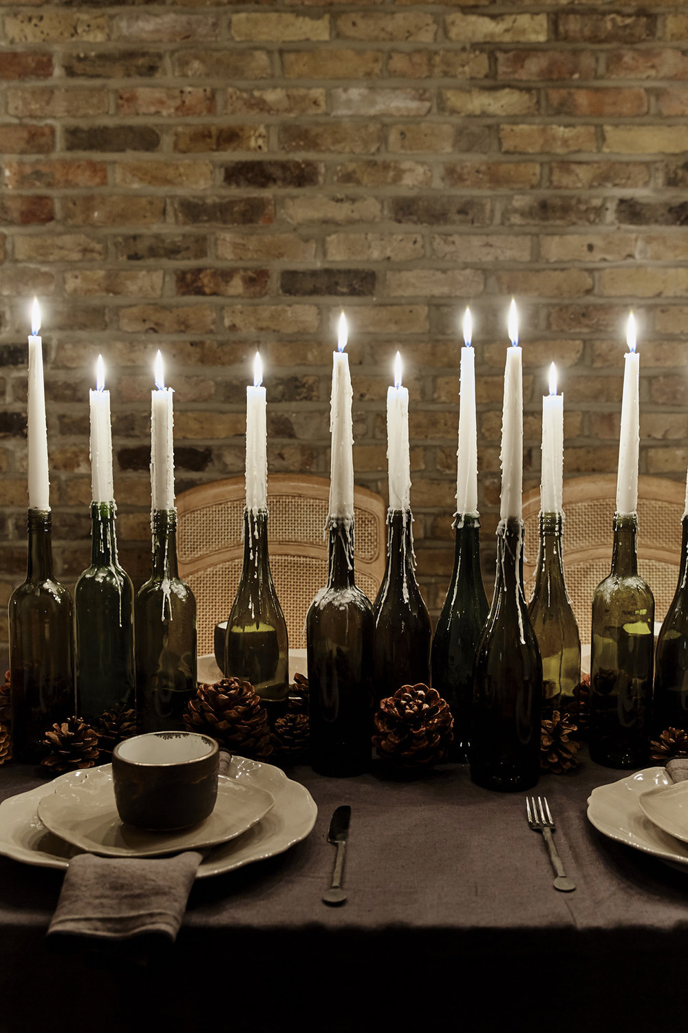 A dark moody Christmas table