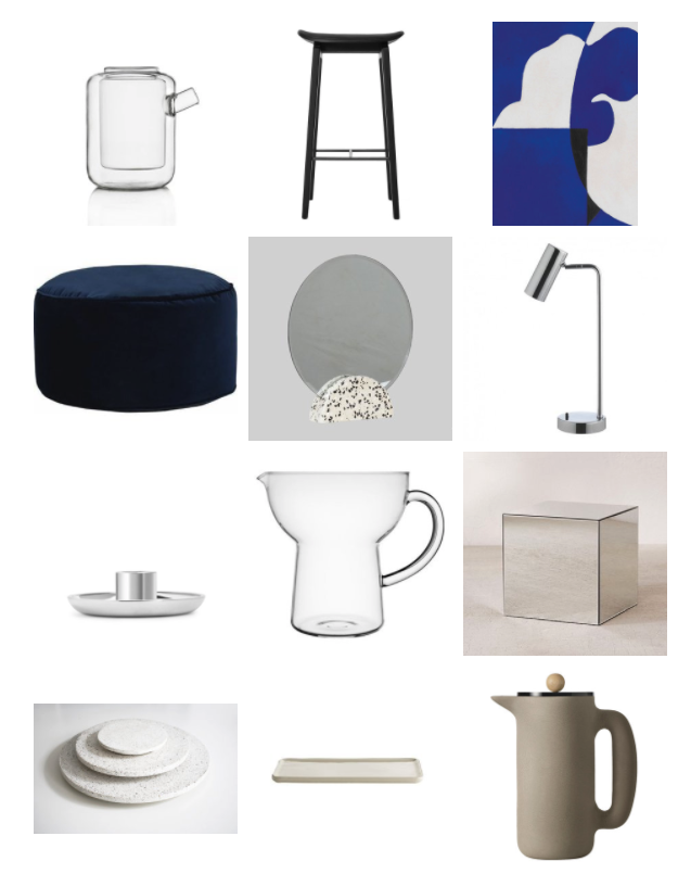 Teapot 2/3 Cups by Ichendorf Milano , €29.50 - New Forms Design /  NY11    Bar Chair by Norr11 , £215.20 (on sale) - Clippings /  November #01 , €87 - Aure Studio /  Lux Velvet Floor Cushion in Navy Velvet , £69 - Made.com,  Hubsch Terrazzo Mirror Round , £31.10 - E  inrichten Design /  Dipped Chromed Metal LED Desk Lamp , £24 (on sale) - Habitat /  Candlestick Holder , £17 - Arket /  Glass Jug by Eva Trio , £26.50 - Connox /  Silver Mirrored Cube , £40 - Urban Outfitters,  Terrazzo Plate Round ,- from €20  Analograum,  Plate Glazed Porcelain , €22.50 - Tine K Home,  Push Coffee Maker by Muuto , £78.32 (on sale) - Nest
