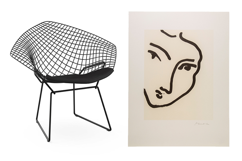 Diamond Chair by Knoll , Utility Design, £1003;  Henri Matisse 'Nadia Au Menton Pointu' Poster,  The Conran Shop, £49