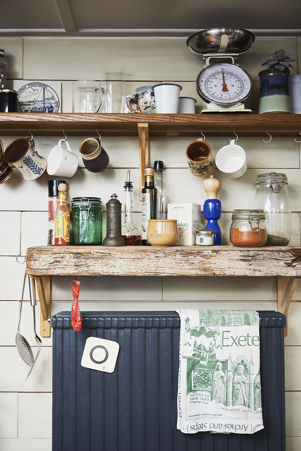 London house boat tour - reclaimed kitchen shelving