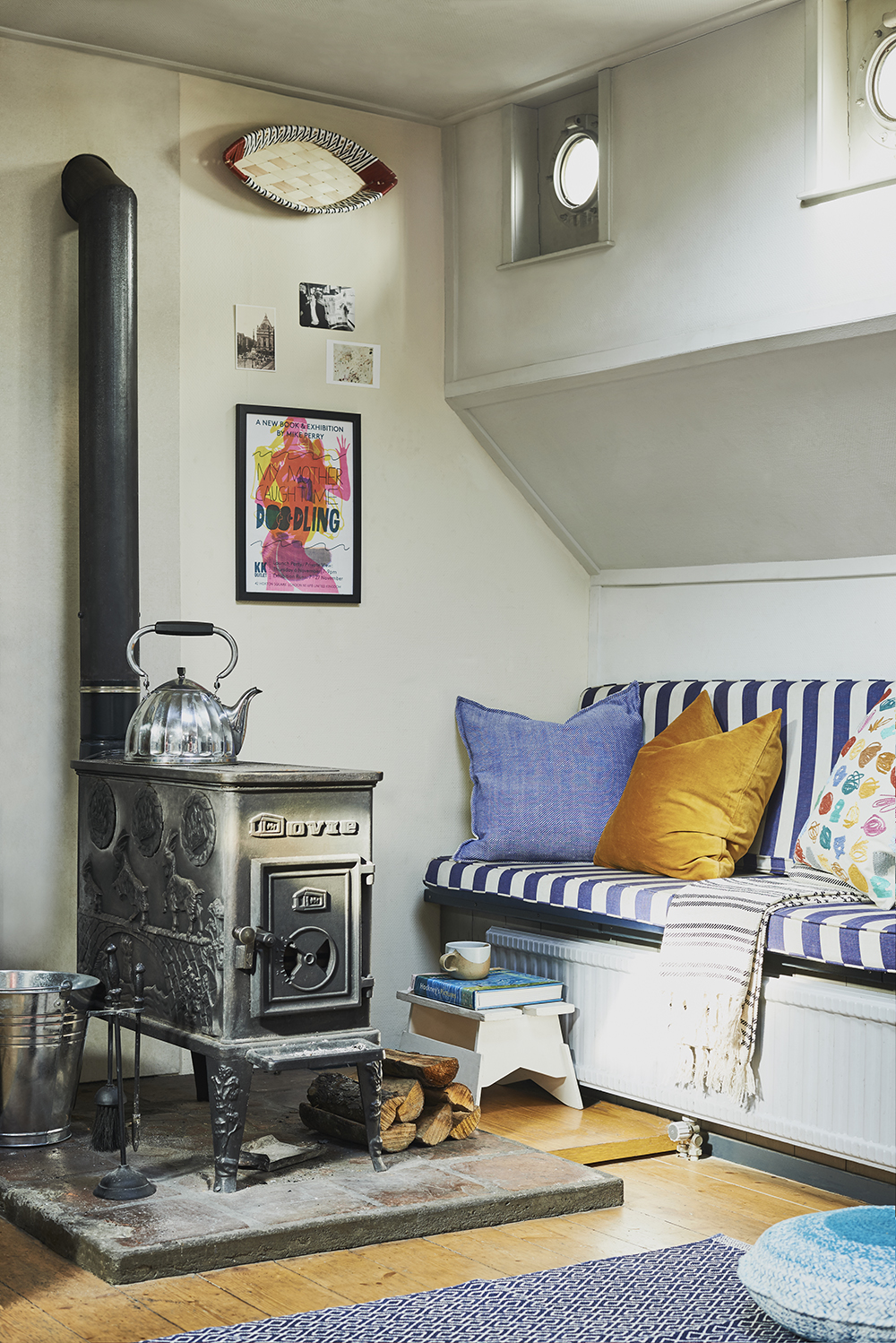 wood-burning stove in London house boat