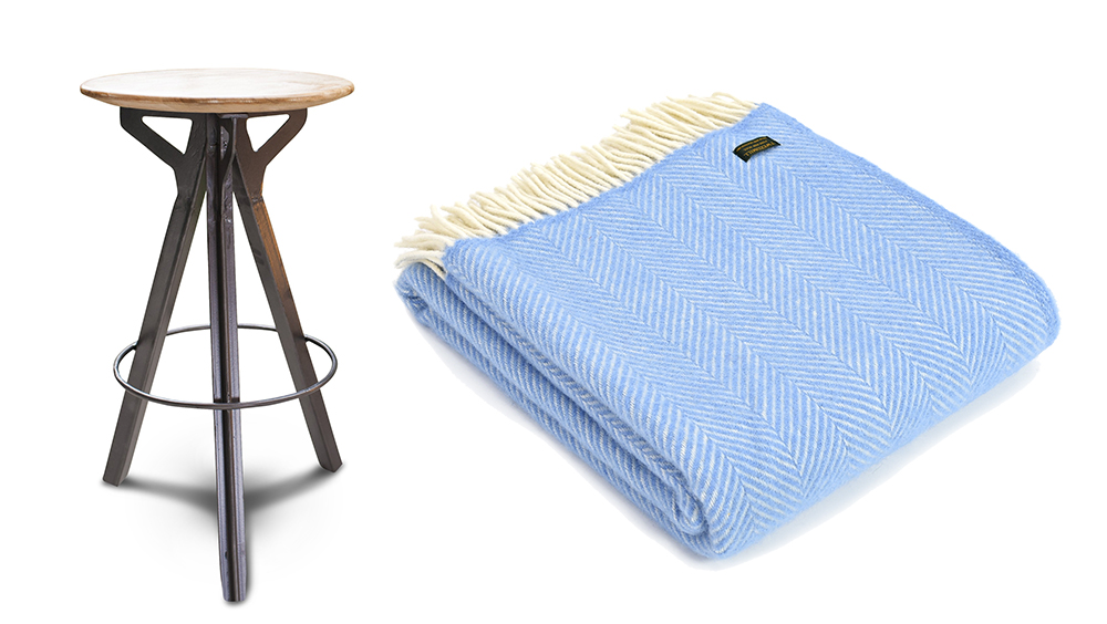 Industrial bar stool , £170, PIB Home;  Wool throw in sea blue , £49.99, Black by Design