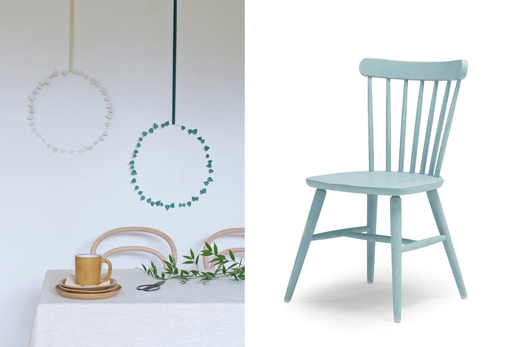 Green+Pink 'Twig' leaves , Radiance £9.95;  Kitchen chairs , Loaf, £230 per pair