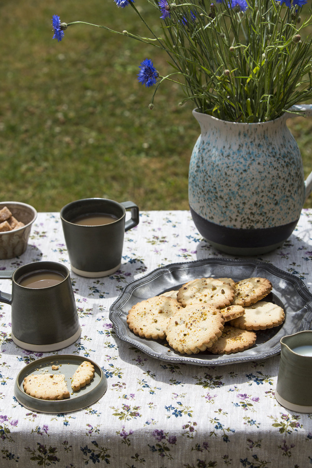 Lagoas Jug by Da Terra , £45,  Elkins  /  Set of Two In-Out Stoneware Mugs in peat , £58,    Stoneware Biscuit Plate in peat , £10,    Stoneware Creamer Jug in peat , £24, all  Rowen & Wren  /    Other items , stylist and photographers own