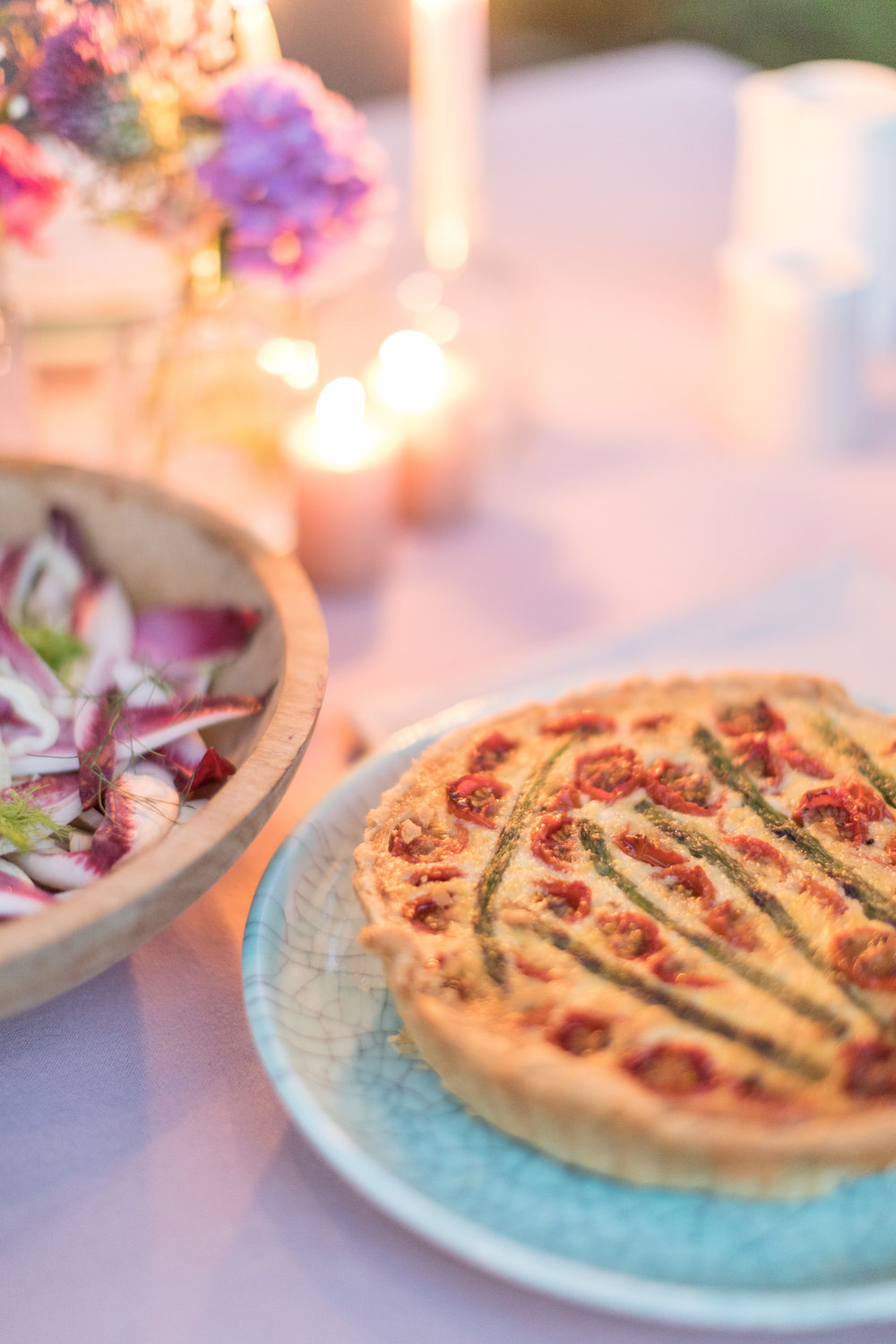 Roasted tomato and asparagus tart