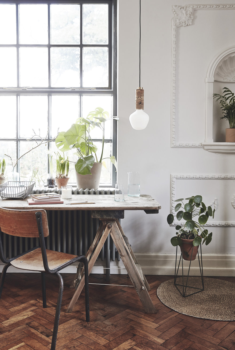 Cork lighting –    Nove Lighting   ; Organic cotton stationary –    Folk Interiors   ; Drinking glass and carafe –    Form Lifestyle   ; Terracotta planter on stand –    Object Style   ; Reclaimed wire tray and vintage terracotta pots on windowsill –    The Old Potato Store