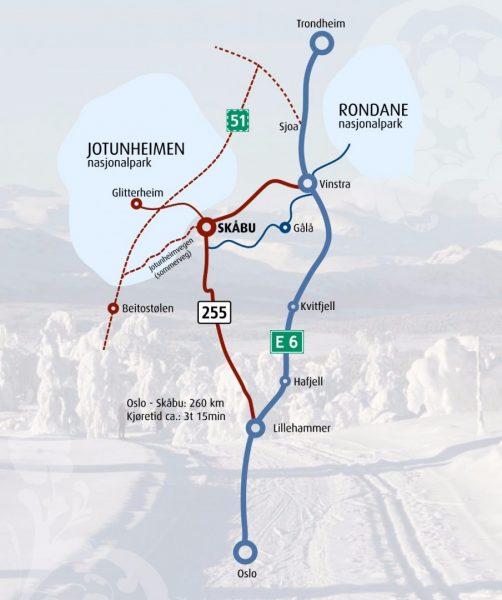 Her finner du Skåbu – omtrent midt i Norge.