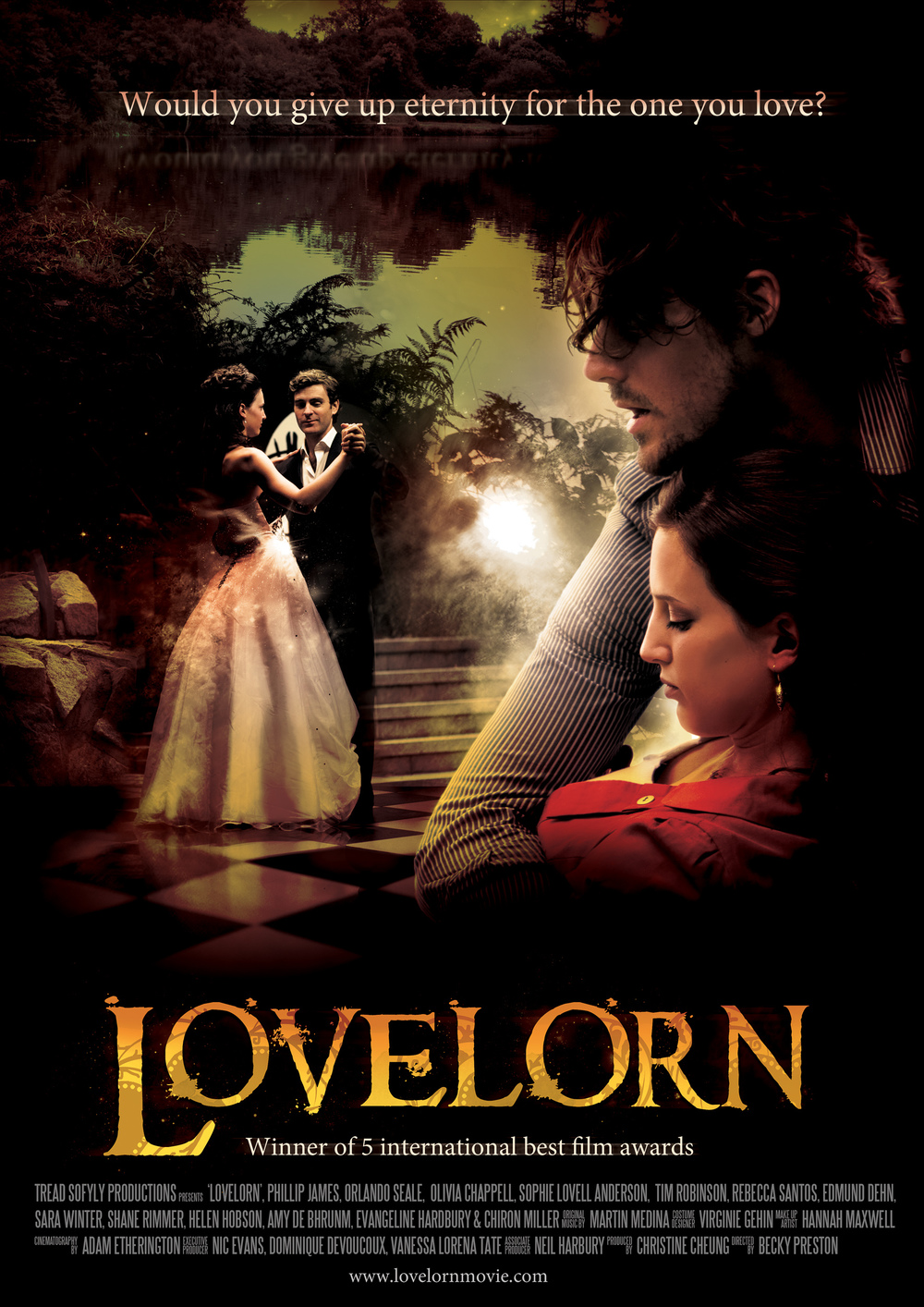 Orlando Seale, Phillip James, Olivia Chappell on the poster for feature film Lovelorn